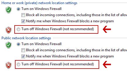 خاموش کردن فایروال ویندوز